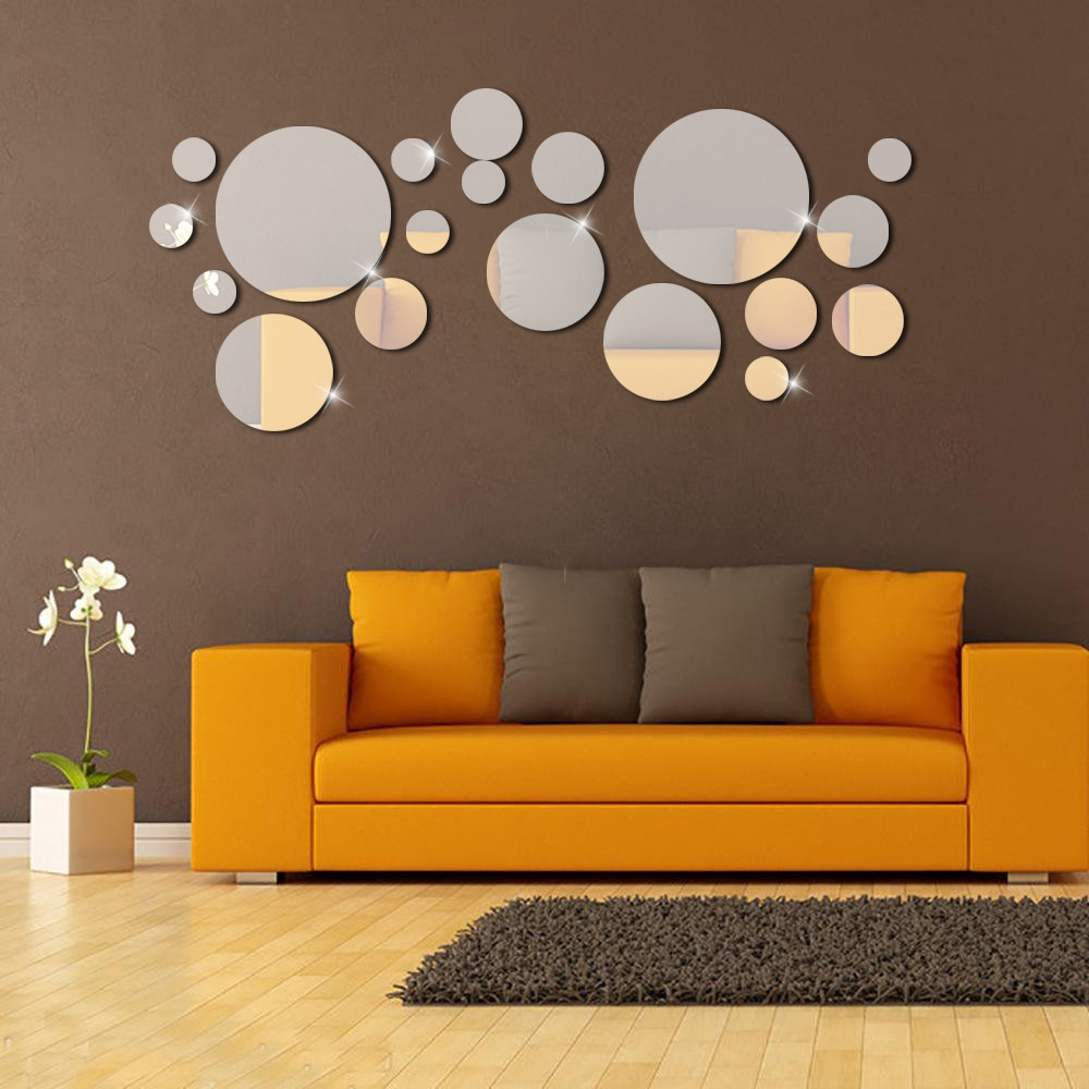 3D Silver Circle Mirror Wall Stickers DIY Decor