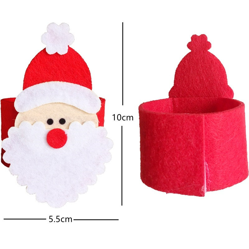 4pcs Santa Claus Buckle Napkin Ring Christmas Decorations