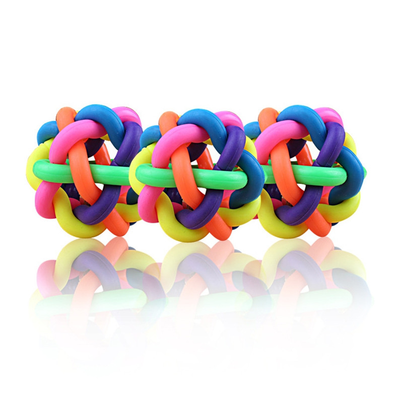 1PCS Puppy Dog Toy Colorful Bouncy Rubber Balls with Bell for Pet Training Playing Chewing