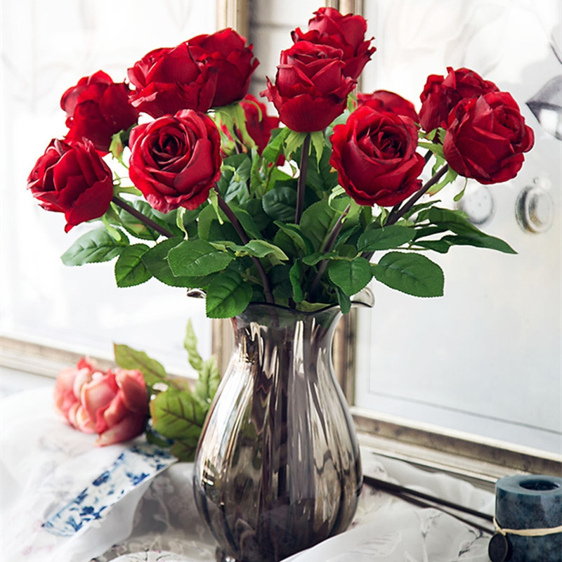 1 Branch High Simulation European Classic Rose Home Decoration Artificial Flower