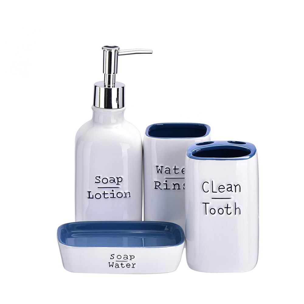 4pcs Ceramic Bath and Shower Accessories Ensemble Set