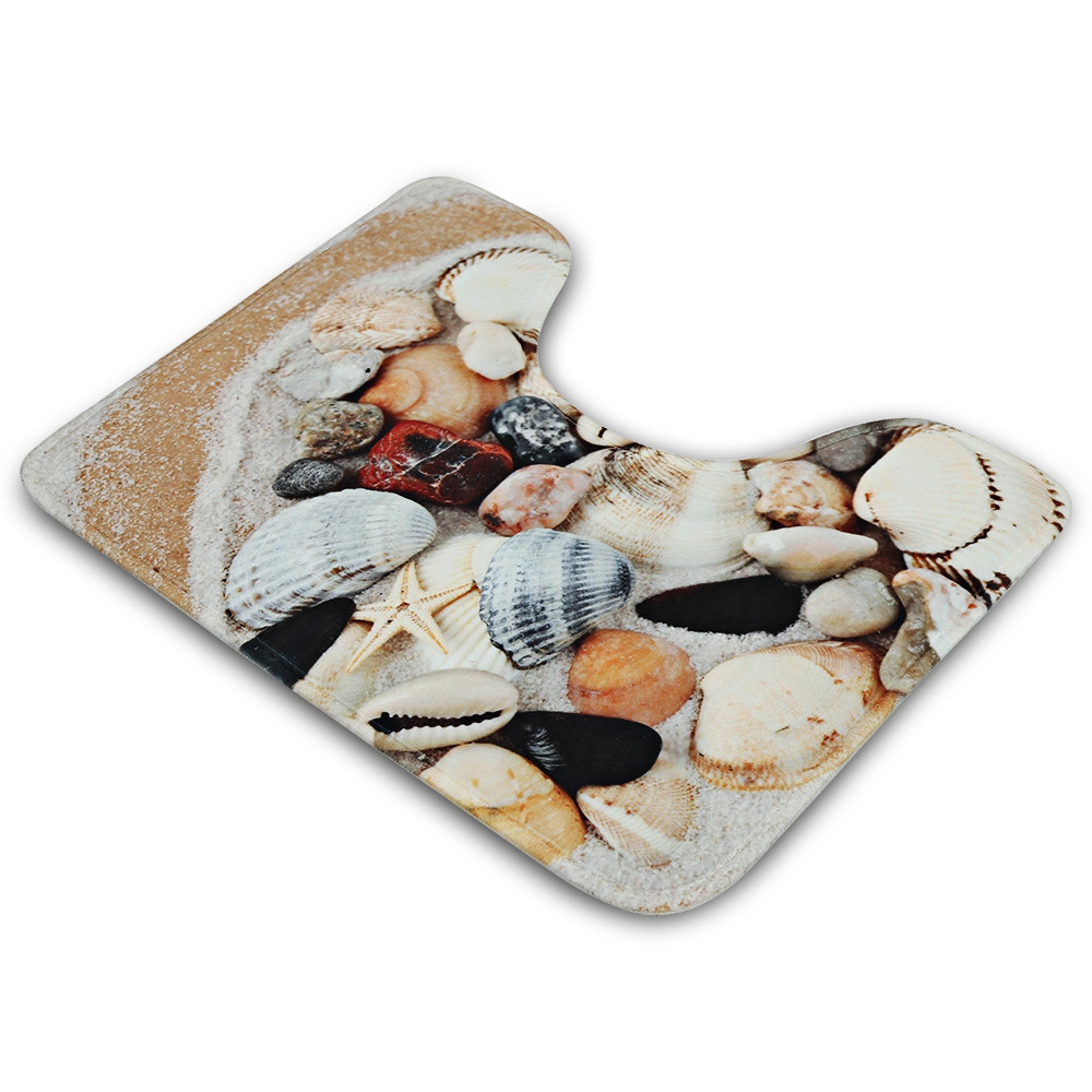 3pcs Seashell Style Bath Toilet Mat Seat Cushion Non-slip Floor Rug