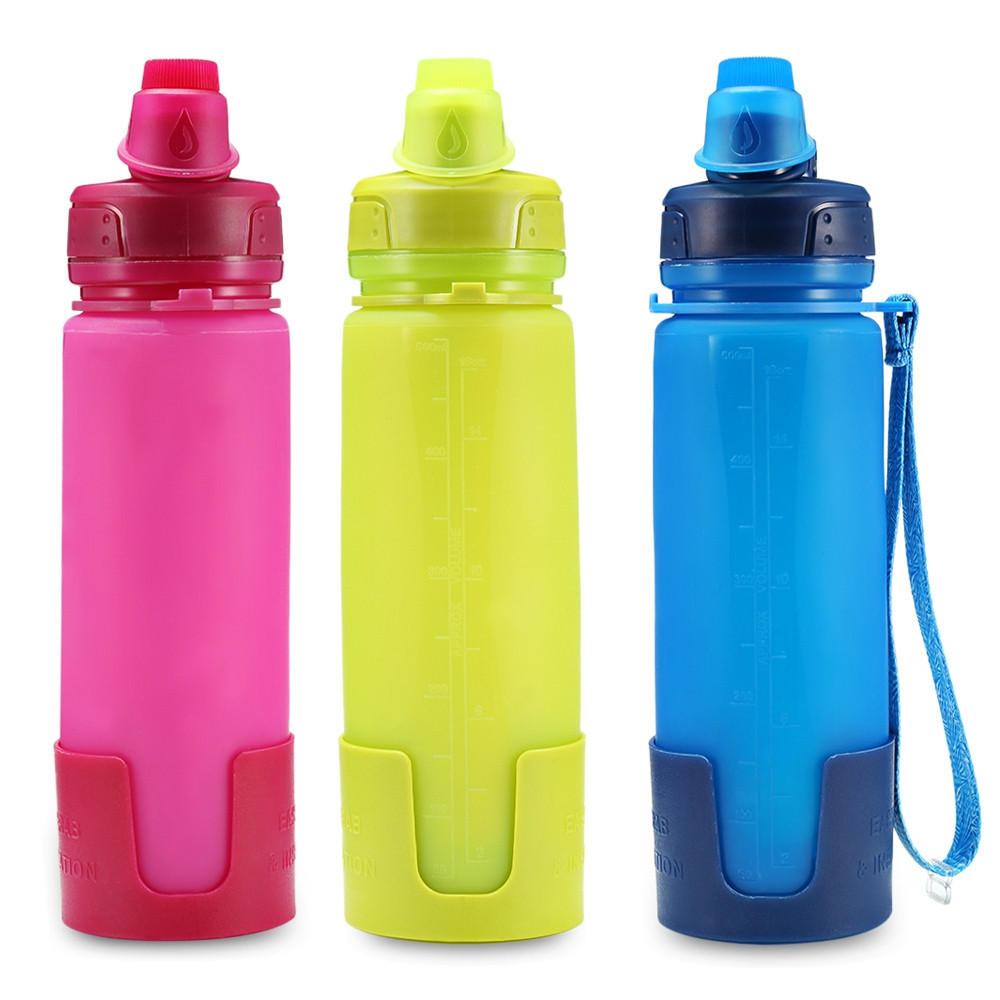 Bakers Able Silicone Folding Water Bottle with Strap for Camping Hiking