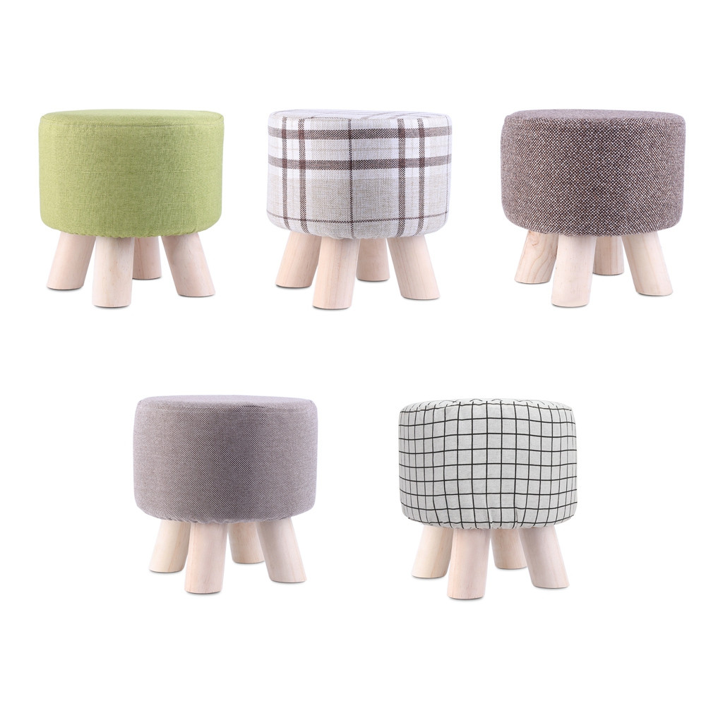 Washable Solid Wood Simple Round Stool Shoes Chair Short Legs Sofa