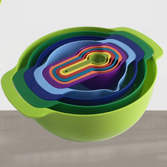 Multi Purpose Colour Measuring Cup Colander Sieve Mixing Bowl Set