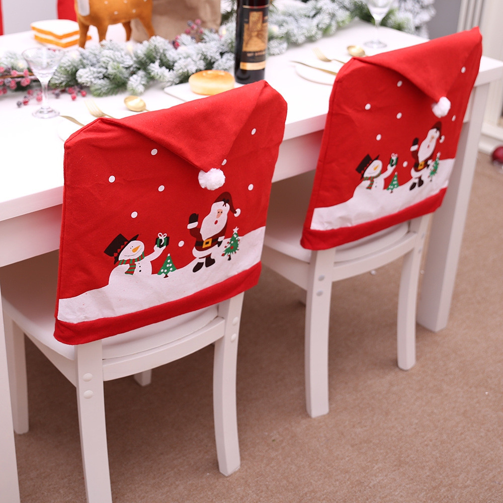 2PC Christmas Decorations Santa Chair Cover Dinner Decor Party