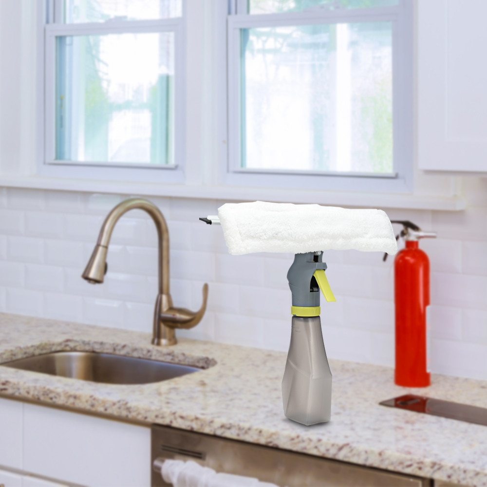 Handheld Double Sided Glass Cleaning Scraper with Water Spray Device