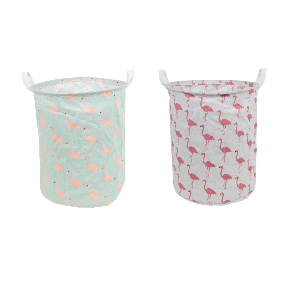 Flamingo Pattern Water-resistant Foldable Dirty Clothes Basket Children's Toy Storage Bucket