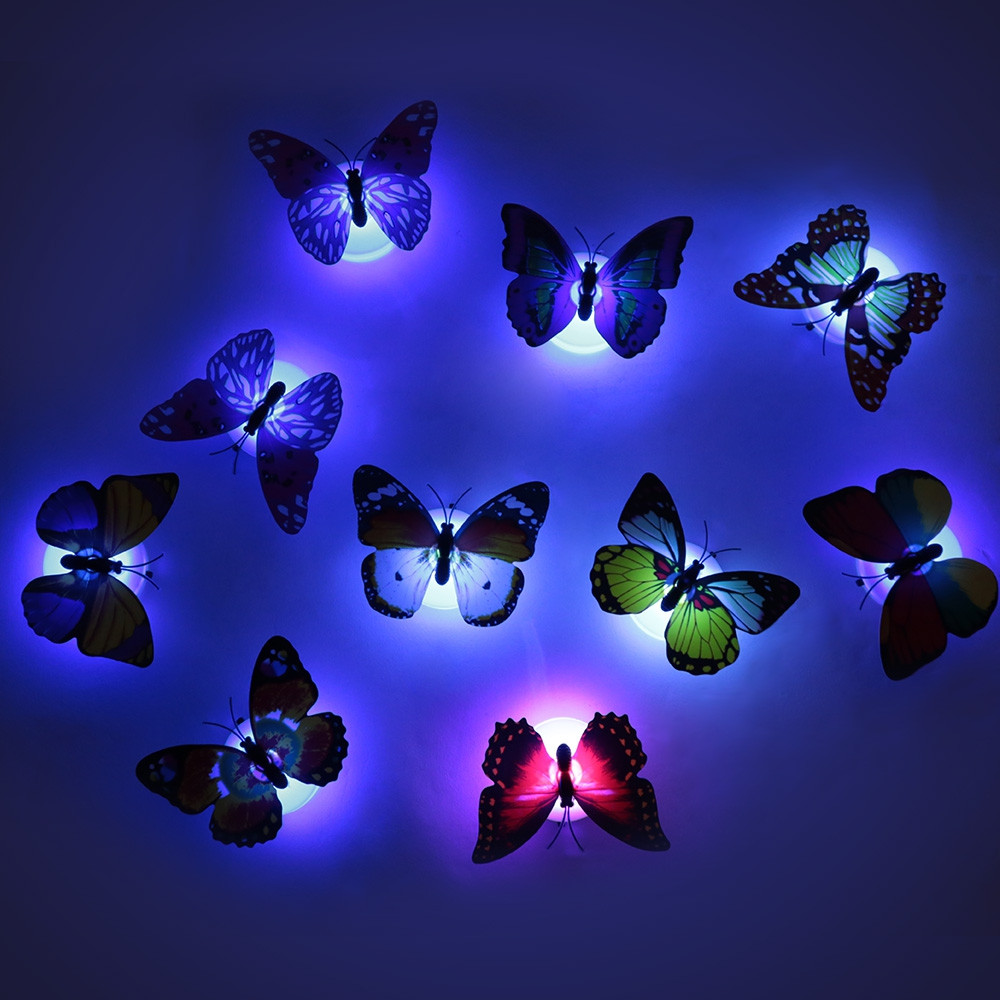 10pcs Butterfly Wall Stickers Night Lights Home Decoration