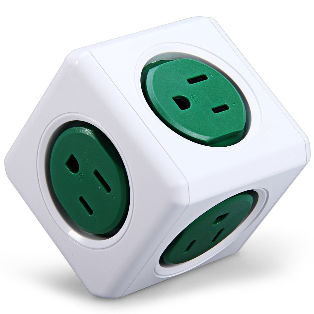 Allocacoc 125V 15A PowerCube Power Socket US Plug 5 Outlets Adapter - 1 Piece