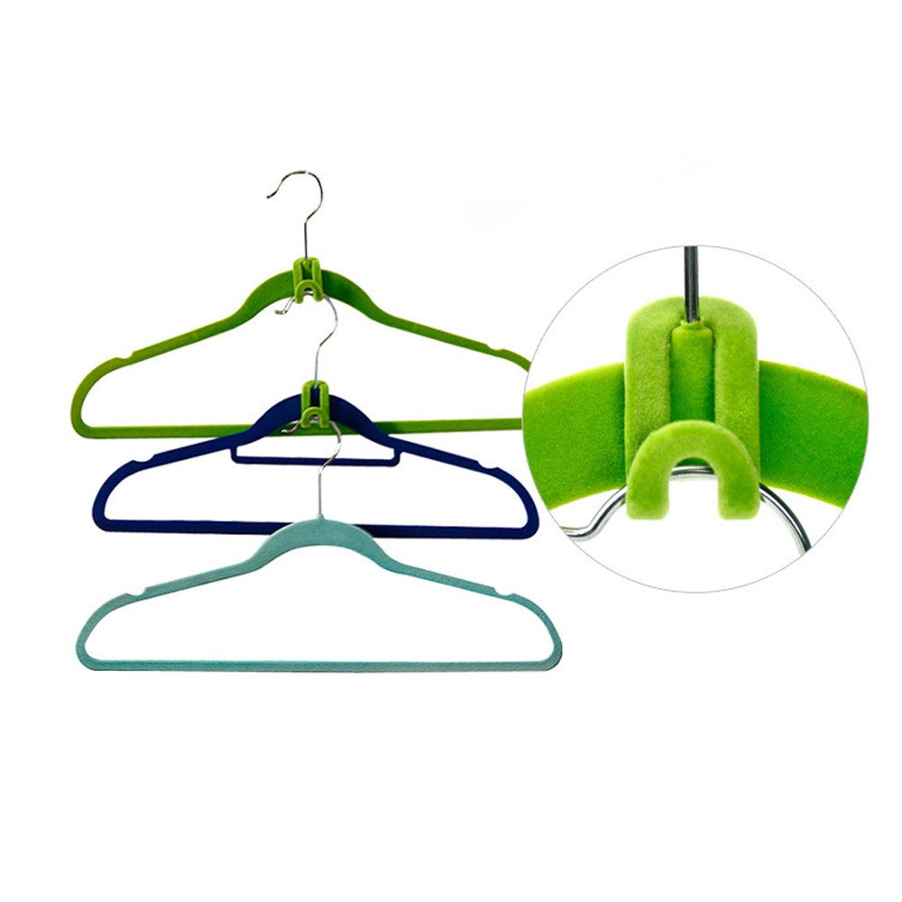 10pcs Creative Mini Flocking Clothes Hanger Hook Closet Wardrobe Organizer