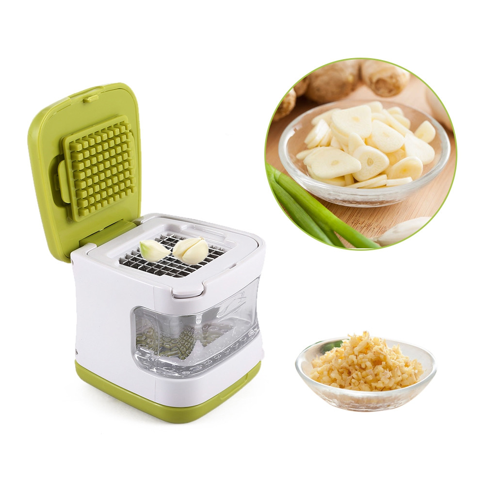 Dual-purpose Garlic Crusher Ginger Slicer with Storage Box