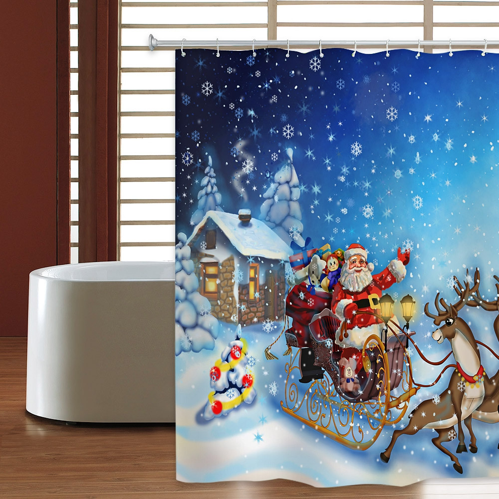 Christmas Sleigh Elk Waterproof Shower Curtain 180 x 180cm