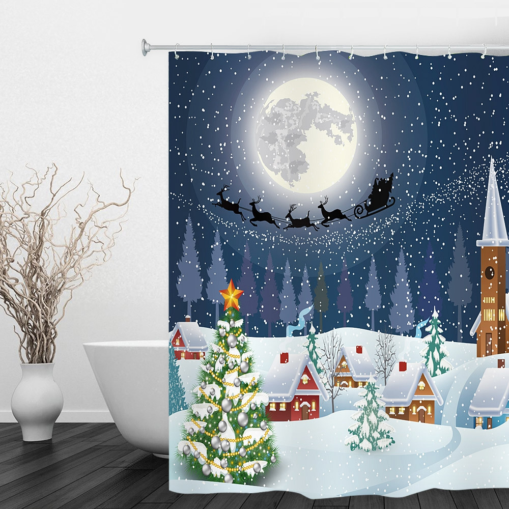 180 x 180cm Christmas Snowtree 3D Printing Shower Curtain