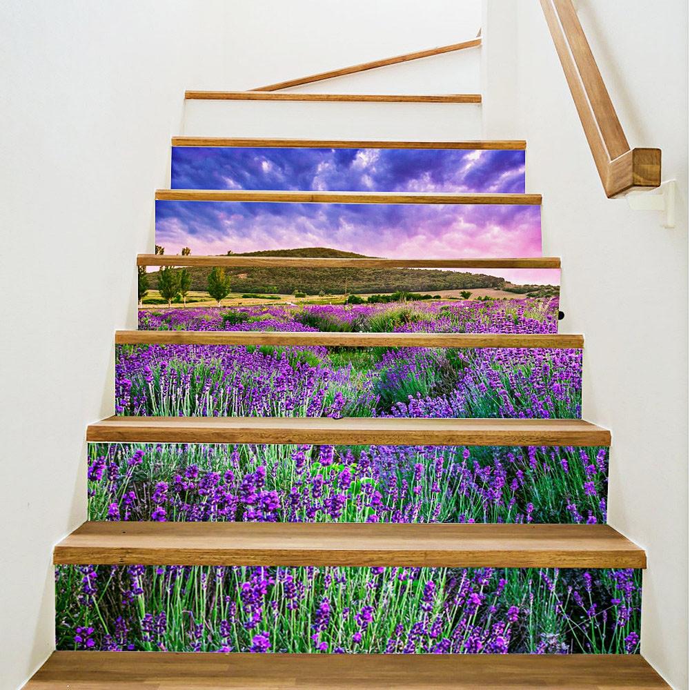 3D Lavender Waterproof Stair Stickers 7.1 x 39.4 inch 6pcs