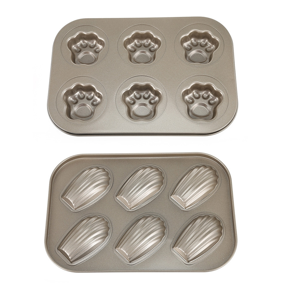 6 Hole Carbon Steel Non-stick Cake Mold Madeleine Mould