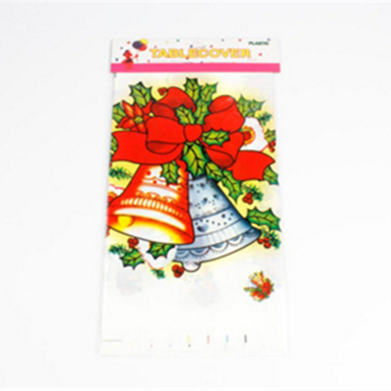 1PCS PVC Christmas Bell Pattern Disposable Tablecloth Holiday Decorations 110 x 180CM