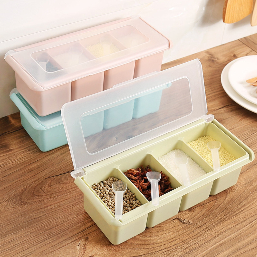 Kitchen Supplies Seasoning Box with Spoon