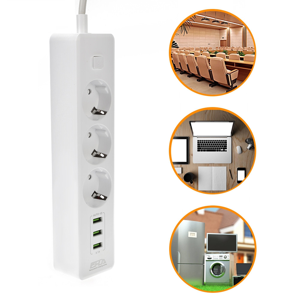 Multifunctional Power Strip 3 Outlet 3 USB Port Socket Plug