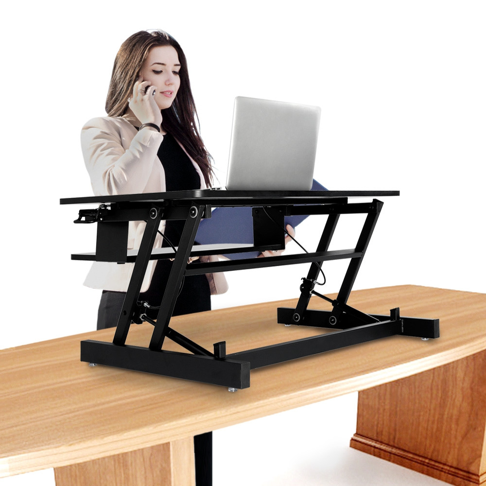 Height Adjustable Stand Up Desk Converter for Office Use