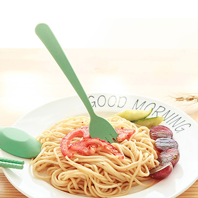 DIHE Cute Children Fork Spoon Chopsticks Set Natural Environmental Protection 3PCS