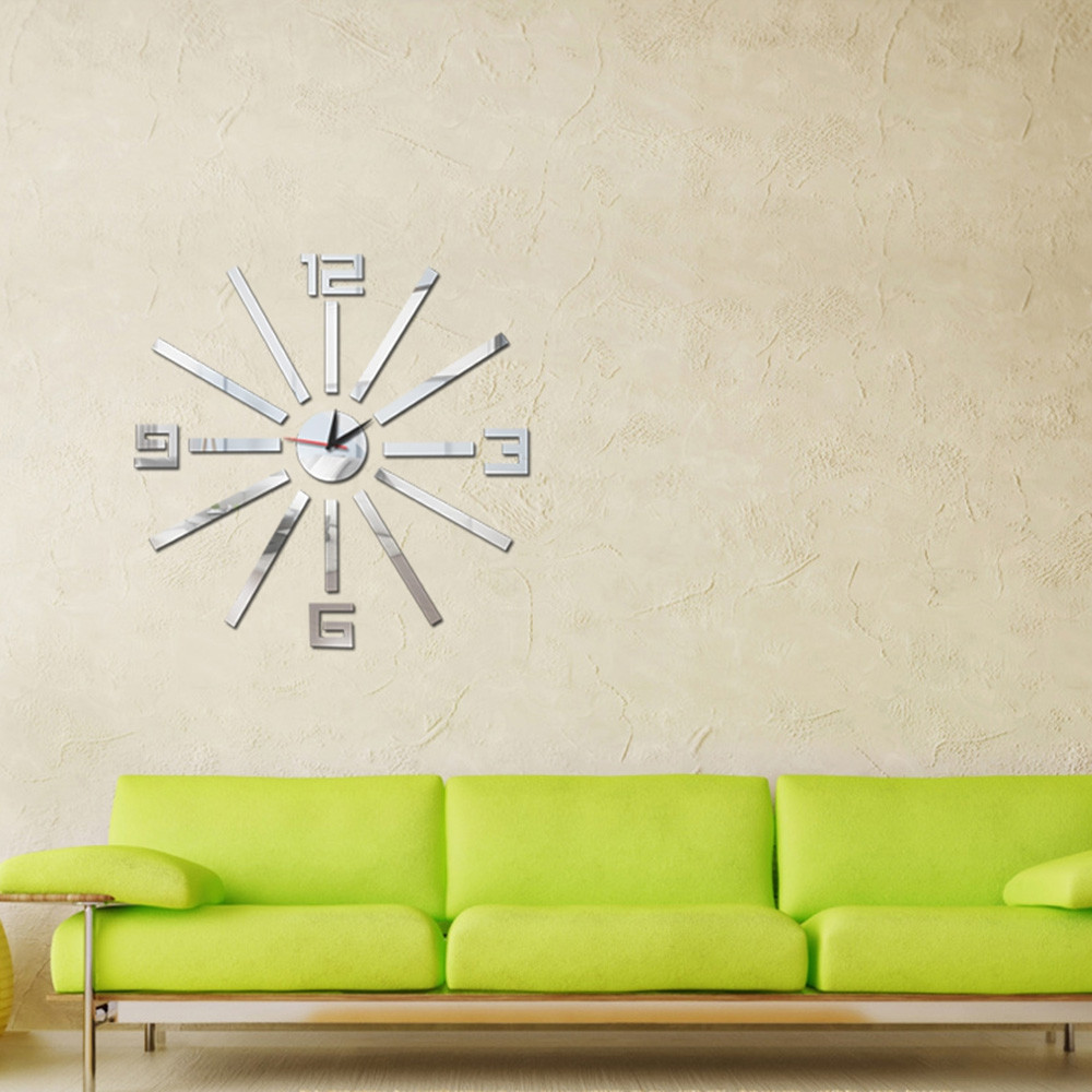 3D DIY Removable Acrylic Mirror Wall Clock Living Room Decoration