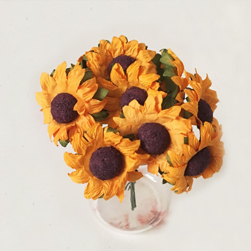 XM 10 Heads Mini Sunflower DIY Accessories Artificial Flowers 8CM