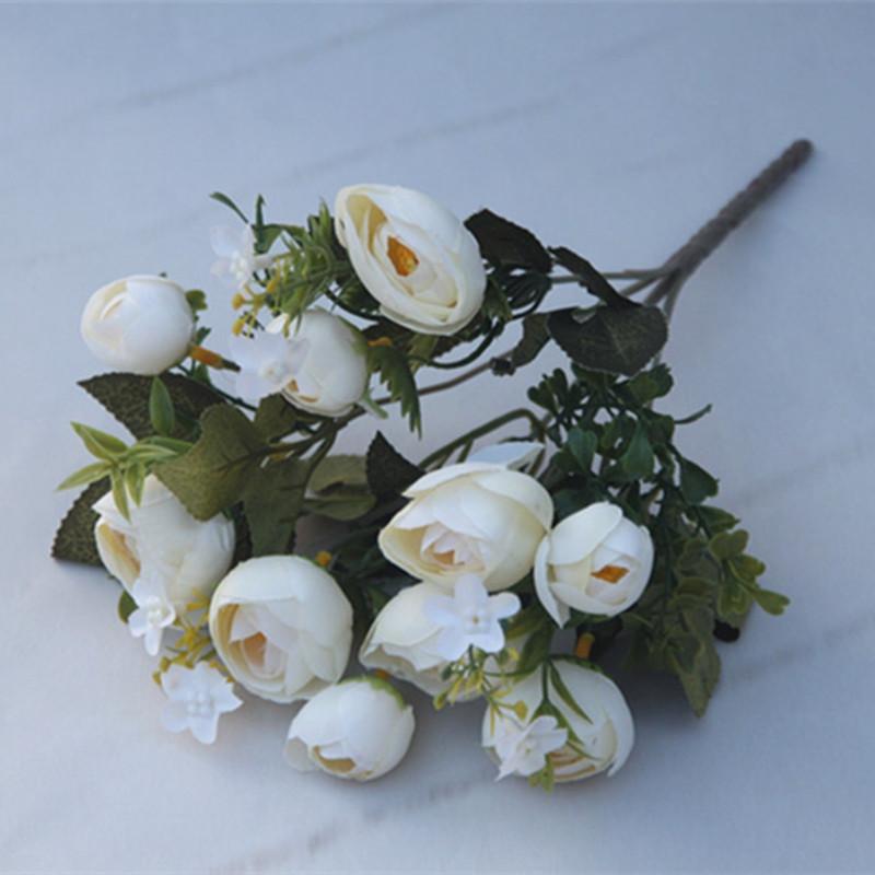 XM 10 Heads Silk Tea Rose Home Decoration Artificial Flower 30CM