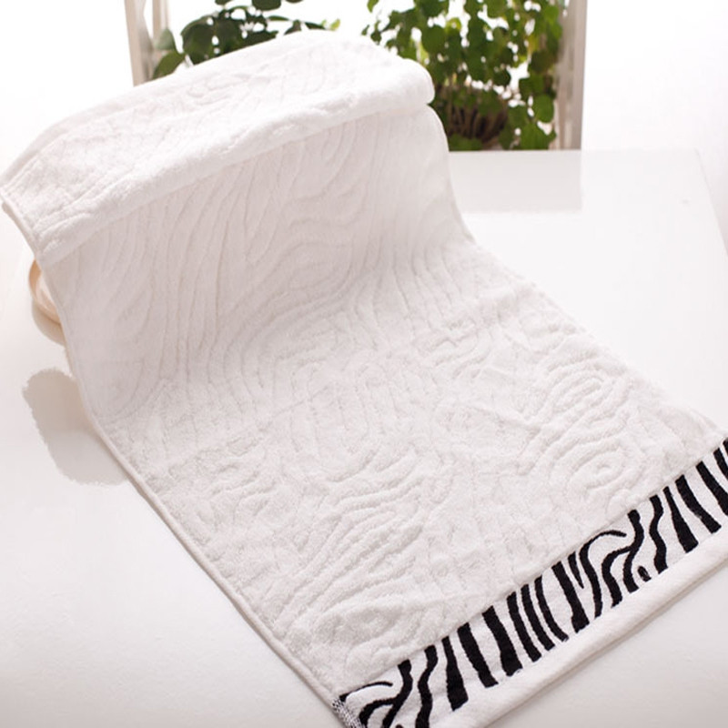 1 Pc Face Towel Simple Solid Color Striped Edge Soft Cozy Face Towel