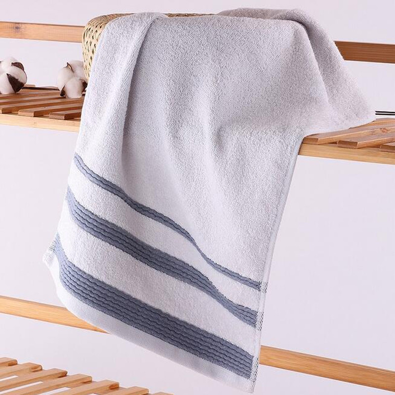 1 Pc Towel Simple Striped Cotton Home Use Towel Gift Towel