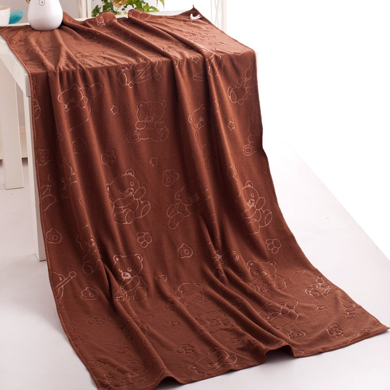 1 Pc Bath Towel Simple Solid Cozy Soft Bath Towel