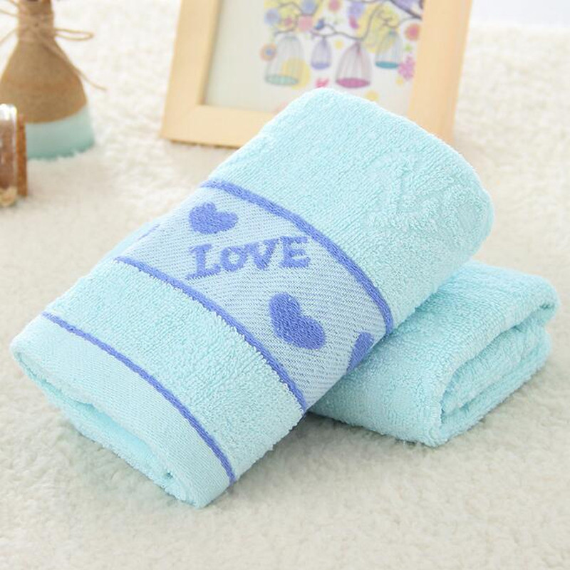 1 Pc Face Towel Cotton Blends Solid Color Love Pattern Cozy Towel