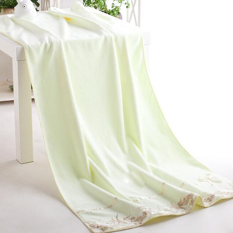1 Pc Bath Towel Simple Solid Lace Edge Thickened Cozy Soft Bath Towel