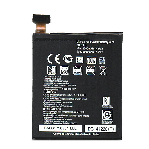 BL-T3 Battery 2000mAh/7.4Wh 3.7V Pack for LG Intuition VS950 Optimus VU F100 P895 + Tools